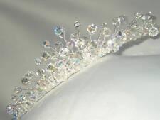 Handmade,Silver Bridal Wedding Tiara made with Swarovski Crystal AB Beads Bride