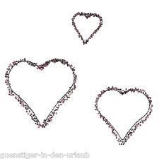 3-tlg Dekoherzen lila Perlen Raumdeko Dekohänger Hänger Perlenhänger NEU