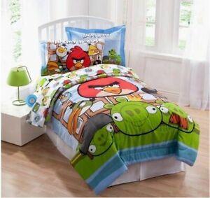 NEW Angry Birds FULL Reversible Comforter Set Bed Skirt Shams Red Matilda Jay +
