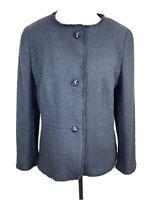 Ann Taylor Factory Black Women's Textured 3 button Jacket Sz 14 No Collar
