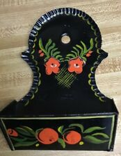 TIN (TOLE) ANTIQUE WALL MATCH HOLDER.BLACK W/RED HANDPAINTED  FLORALS - GOLD