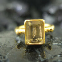 Handmade Square Natural Citrin Ring 22K Gold Over 925K Sterling Silver