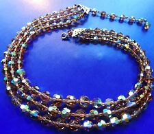 Vintage sparkling aurora borealis crystal 3 strand topaz necklace