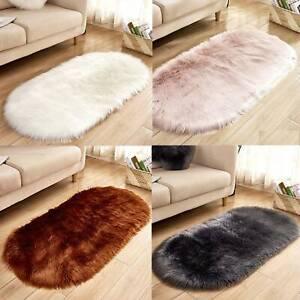 Oval Circle Soft Shaggy Rug Kids Living room Bedroom Carpet Floor Fluffy Mat