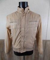 SEARS SPORTSWEAR VTG 70's Beige Zip Tab Collar Flight Racer Harrington Jacket