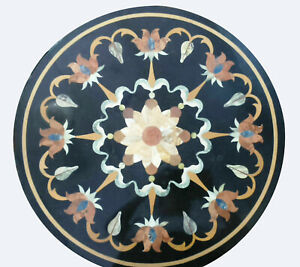 """18"""" Black Marble Coffee Table Top Inlay Mosaic Floral OutDoor Home Decors B814"""