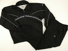 Fila Vtg 90's Women's Velour Fleece Floral Tracksuit Sweatsuit Sz 6 Black Warmup