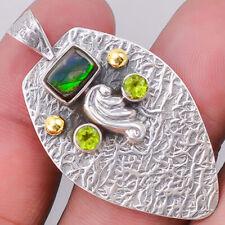 Genuine Canadian Ammolite and Peridot 925 Silver Pendant Jewelry SDP16259
