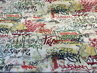Graffiti Kilroy was here Drapery Upholstery Fabric by the yard