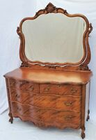 Vtg Victorian Large American Dresser Chest with Mirror in Figured / Flamed Birch