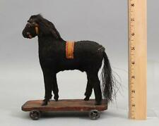Small 19thC Antique Victorian German Folk Art Wood Mohair Horse Pull Toy