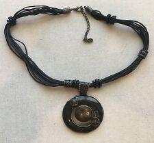 """Vintage Necklace Enamel Abstract Pendant Boho CE Multi-Cord 18-20"""" Earthtones"""