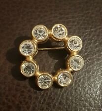 M&S Round Circle Goldtone Brooch clear stones