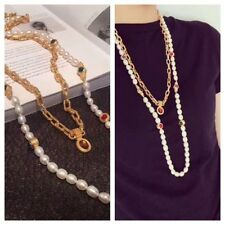 Fresh Water Pearl and Gold chain Necklace