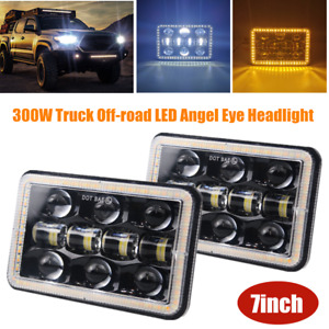 "7""300W Off-road LED Square Headlight Work Light Angel Eye Hi/Lo DRL Driving Lamp"