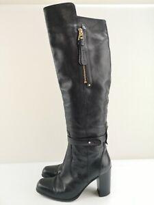 BARBARA BUI Ladies Women Black Leather Knee High Heel Shoe Boot Size 6 39