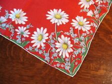 Vintage Hanky Daisy Blue Flowers on Retro Red Handrolled Edge Bright Cheerful!