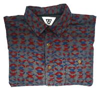 Vissla Men's Short Sleeve Button Up Shirt Grey/Blue/Red Size Small **free Post**
