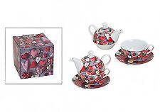 Teekanne Tea for One Teekanne Tasse Untersetzer Herz Landhaus Geschenkbox