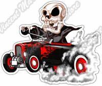 "Reaper Hot Rod Skull Grim Vehicle Cartoon Car Bumper Vinyl Sticker Decal 5""X4"""