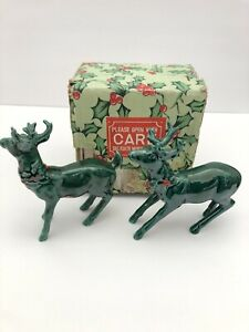 Vintage LEFTON Reindeer Christmas Holiday Green 1187 Tail Up Tail Down Japan Box