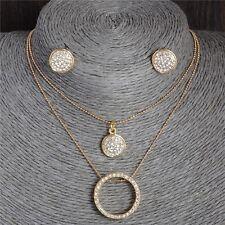 Collana placcato oro Orecchini cerchio Set realizzato con cristalli Swarovski un