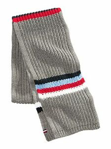 TOMMY HILFIGER Mens Gray Acrylic Chunky-Knit Striped Winter Scarf