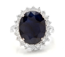 13.50Ct Natural Blue Sapphire & Diamond 14K White Solid Gold Ring
