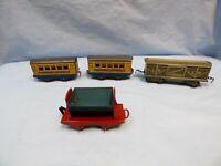 Vintage Tinplate Train Wagons Car Bundle 4 Job Lot Classic Toy Railway Carriage