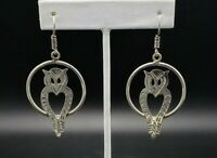 Vintage Taxco Large Owl Dangle Earrings Solid Sterling Silver