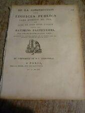 1803 ARCHITECTURE - CHARLES FRANCOIS VIEL - CONSTRUCTION EDIFICES PUBLICS FER