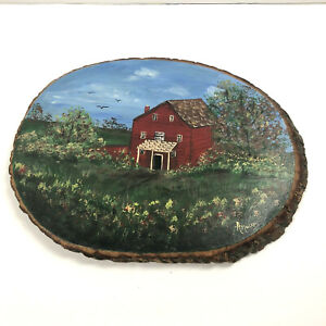 Farm Red Barn Wall Art Country Handpainted Wood Plaque Wood Tree Slice