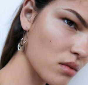 Silver Colour Irregular Geometric Hoop Earrings Fashion