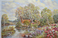 FIORA COZZI ORIGINAL OIL PAINTING CANVAS FLORAL COUNTRY HOME 36X24 SIGNED W/COA