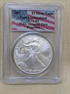 WTC Ground Zero Recovery  $1 2001 Silver Eagle  Gem Uncirculated Coin