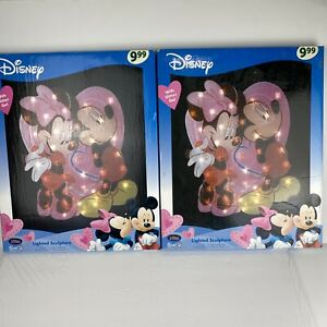"""19"""" Disney Mickey & Minnie Mouse Lighted Sculpture Valentine's Day Love Decor"""