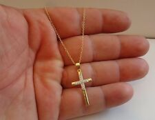 18K YELLOW GOLD OVER 925 STERLING SILVER CROSS NECKLACE PENDANT W/ ACCENTS/18''