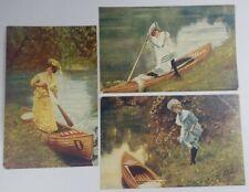 1906 Canoe 3 Postcards Woman S.S. Porter Canoeing Summer Joys Landing Vintage