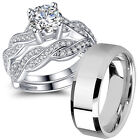 His Hers Sterling Silver Cz Infinity Wedding Engagement Matching Ring Band Set