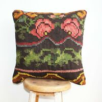 Handmade Kilim PILLOW CUSHION COVER - Caucasian Tribal Decorative Pillow 18""