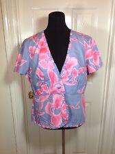 Silk Assets Diane Von Furstenberg SZ LARGE GRAY/PINK MULTI COTTON Jacket NWOT