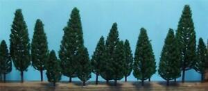 Multi Scale Authentic Scenery 16 Pc Set Full Leaf Dark Green Pine Trees 5 Sizes