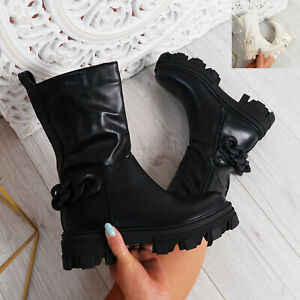 WOMENS LADIES MID CALF BOOTS CHUNKY PLATFORM SIDE ZIP CHAIN WOMEN SHOES SIZE