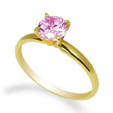 Ladies 10K Yellow Gold Solid Round Tourmaline Cz Solitaire Ring Size 4-10