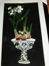 "Silk Chinese Embroidered Framed Art White Orchid w/Pot,  15 3/4"" x  27 1/2"""