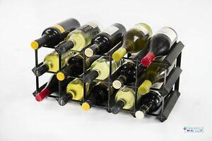 Cranville wine rack storage 15 bottle black stain wood and black metal assembled
