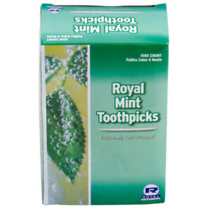 White Birch Mint Individually Wrapped Round Wooden Tooth Picks 1000 / Box Royal