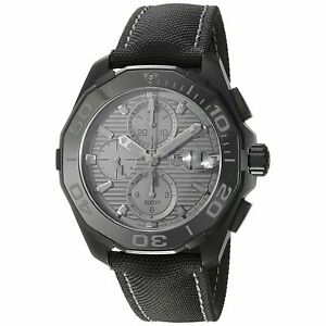 Tag Heuer CAY218B.FC6370 Aquaracracer Men's Chrono Automatic Black Canvas Watch
