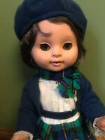 "Beautiful Vintage Doll 14"" with plaid dress"