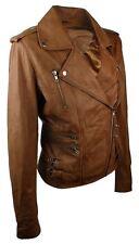 Ladies Women Leather Slim Fit Buckle Retro Tan Biker Leather Jacket
